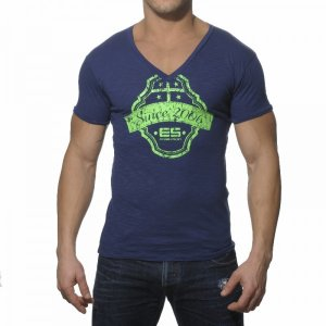 ES Collection Neon Print V Neck Short Sleeved T Shirt Navy TS044