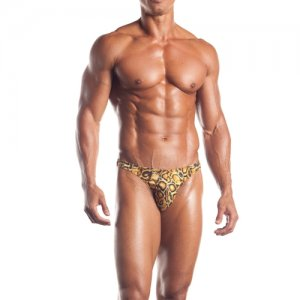 Excite Leopard Clip Thong Underwear Golden Tan Animal Print EE22