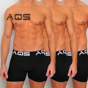 AQS [3 pack] Cyclist Trunk Boxer Underwear Black UBBB