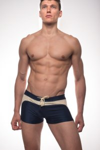 Kineo Evan Square Cut Trunk Swimwear Navy/Green KN-SW023