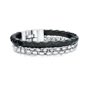 Italgem Steel Box Link Chain & Leather Bracelet