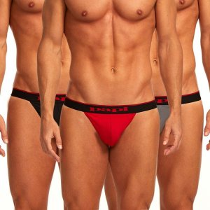 Papi [3 Pack] Cotton Stretch Thong Underwear Red & Grey & Black 980902