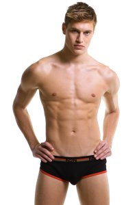 N2N Bodywear Boot Camp Boxer Brief Underwear Black/Red UN44