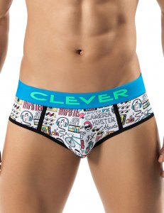 Clever Hipster Piping Brief Underwear White 5235