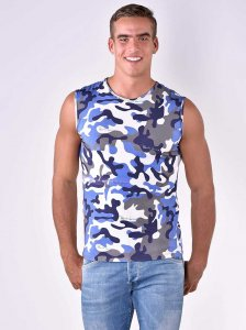 Roberto Lucca Slim Fit Camo Print Muscle Top T Shirt Blue 80004-10133