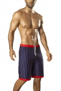 Vuthy Stripes Contrast Waistband & Leg Trim Boardshorts Beachwear Navy/Red 317