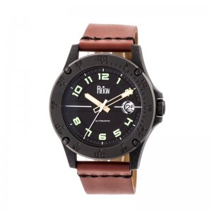 Reign Emery Automatic Leather-Band Watch w/Date - Black/Black/Brown REIRN5004