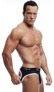 Go Softwear A J Action Mesh Uncovered Jock Brief Underwear Black/White 8520