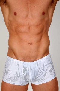 Pistol Pete Ice Midcut Square Cut Trunk Swimwear White MC505-165