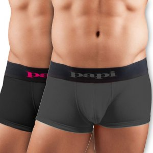 [2 Pack] Papi Cool Solid Brazilian Trunk Microfiber Boxer Brief Underwear Black+Grey 626161