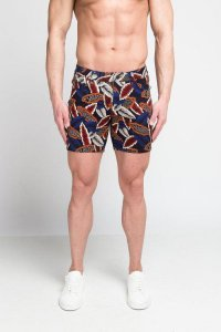 ST33LE Leaves Stretch Knit Shorts Blue/Red STL1936