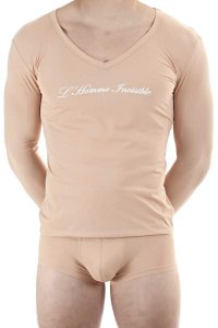 L'Homme Invisible Logo V Neck Long Sleeved T Shirt Nude Skin MY75-SEN-S00