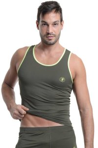 L'Homme Invisible Xtreme Singlet Tank Top T Shirt Army MY43-EXT-056