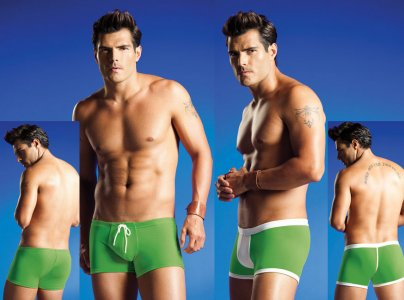 Vuthy Reversible Square Cut Trunk Swimwear Green/White 207