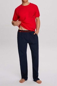 Atlantic Hide Pyjama Set Short Sleeved T Shirt & Pants Red N...