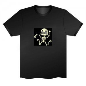 LED Electro Luminescence Skeleton Funny Gadgets Rave Party Disco Light T Shirt Black 31759