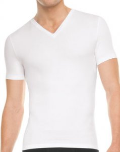 SPANX For Men Cotton Control V Neck Short Sleeved T Shirt White 641