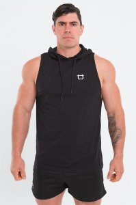 Twotags Muscle Sleeveless Hoodie Sweater Black