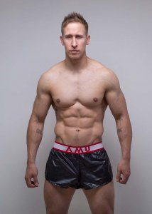 AMU Lightweight Nylon Shorts Black/White/Red