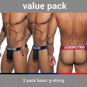 Addicted [3 Pack] Basic G String Underwear Red & Black & Navy AD746P