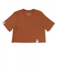 The Well Branded 100% Soft Airlume Cotton NYC Fashion Week Color Crop Top Short Sleeved T Shirt Cinnamon Stick