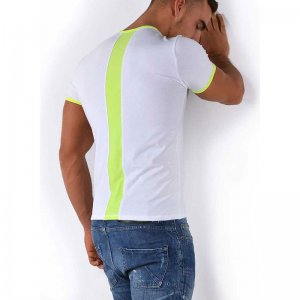 Roberto Lucca Slim Fit Back Stripe Short Sleeved T Shirt White/Neon Yellow 80217-71010