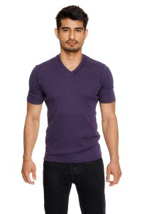 4-rth Hybrid V Neck Short Sleeved T Shirt Eggplant