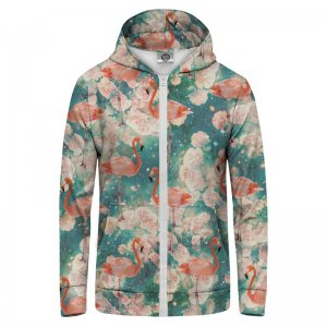 Mr. Gugu & Miss Go Flamingos Unisex Zip Up Hoodie H-PC133