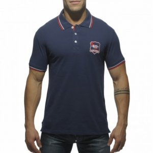 ES Collection Slim Fit Embroidered Polo Short Sleeved Shirt Navy POLO07