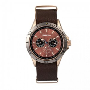 Breed Dixon Leather-Band Watch w/Day/Date - Bronze/Brown BRD...