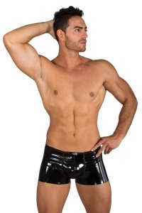 Eros Veneziani Lack PVC Push Up Boxer Brief Underwear Black 7322