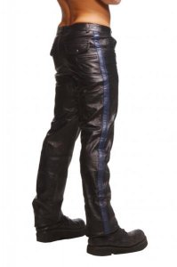 Strict Leather Police Stripe Leather Pants Black/Blue AT147