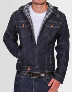 Kear&Ku Denim Hooded Plaid Lining Jacket