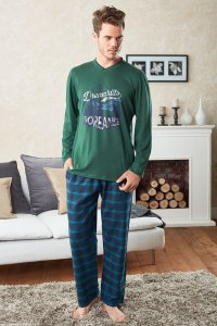Doreanse Dreamhills V Neck Long Sleeved T Shirt & Plaid Pant...