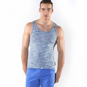 Roberto Lucca Heather Racer Back Tank Top T Shirt Blue 80003-10800
