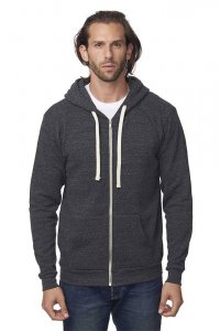 Royal Apparel Unisex Eco Triblend Fleece Full Zip Hoody Long Sleeved Sweater Eco Tri Charcoal 37050
