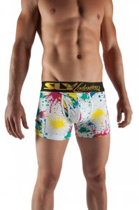 Sly Underwear Splatter Short Leg Boxer Brief Underwear White SLY1-PB