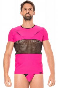Lookme Mesh Panel Zipper Short Sleeved T Shirt Magenta 2004-81