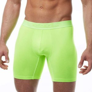 Papi Sport Cycle Short Long Boxer Brief Underwear Neon Green...