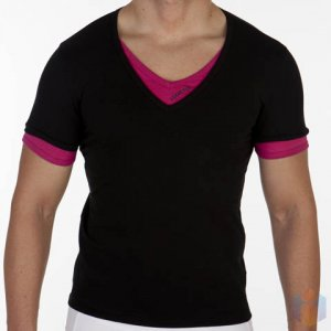 Addicted Double Effect V Neck Short Sleeved T Shirt Black/Purple AD121