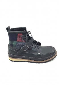 Spy Henry Lau Checker Patchwork Boots Black SP788SH03HJWHK