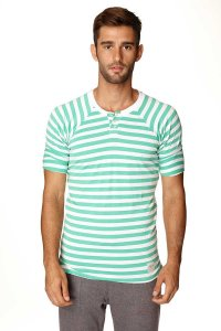 4-rth Nautical Raglan Resort Henley Stripe Short Sleeved T S...