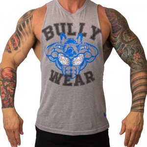 Bullywear Poser Muscle Top T Shirt Grey POSER