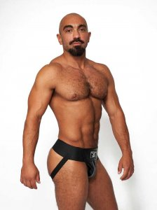 Mister B Leather Premium Jock Strap Underwear Black/Grey 231...