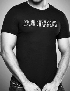 Coxxxano Trendy Swarovski Stone Logo Short Sleeved T Shirt Black 157T7G