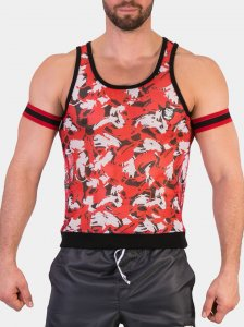 Barcode Berlin Jurij Tank Top T Shirt Red/White/Black 91431-303