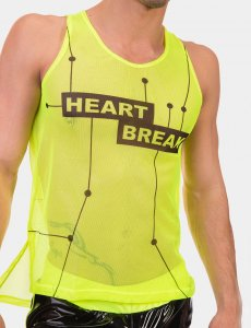 Barcode Berlin Heartbreak Neon Mesh Tank Top T Shirt Green/Black 91611-518