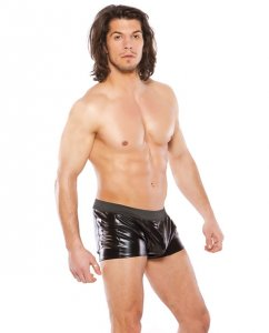 Allure Zeus Wet Look Slashed Shorts Black 33-1082
