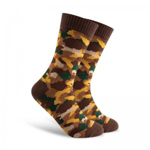 Curious Beaver Camo Socks Brown CBM