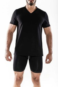MaleBasics Everyday Prima V Neck Short Sleeved T Shirt Black MB104
